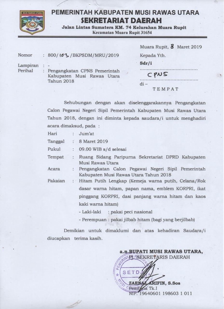 Undangan Pengangkatan CPNS Kabupaten Musi Rawas Utara